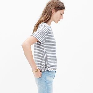 Madewell side bow tie striped Top M